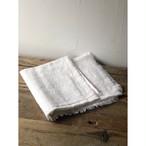 インドの手仕事布  木版染め白 風呂敷 フリンジ110×110