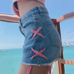【新作10%off】pink lace up short denim 2634