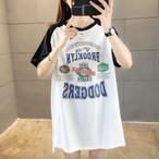 【tops】カジュアル アルファベット 丸ネック 3色 配色 合わせにオススメ ロングTシャツ