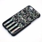 [天然貝ケース] iPhone/Xperia/Galaxyケース(ダマスク×ストライプ・黒カバー)<螺鈿アート>【ラッピング対応】