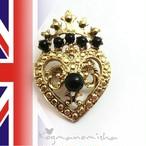 英国ヴィンテージ☆ブラックカボッションガラス ラッケンブース スコティッシュ ブローチ