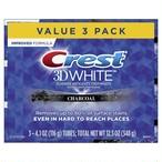 Crest 3D White, チャコールホワイトニング Toothpaste, 4.1 oz, 3本セット