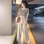 【送料無料】 スタイル美人♡ クルーネック ボーダー Tシャツ × ウエストリボン プリーツ リブ ワイドパンツ セットアップ