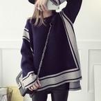 【トップス】不規則配色人気ラウンドネックセーター