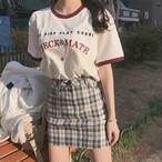 【送料無料】 お洒落なロゴT♡ 英字ロゴ 刺繍 Tシャツ 半袖 カジュアル 楽ちんコーデ