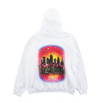 NEW YORK CITY AIRBRUSHED HOODIE / white