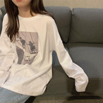 【送料無料】 ヘビロテアイテム♡ ゆるだぼ プリント ロンT カットソー トップス メンズライク