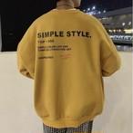 メンズ ロゴ トレーナー 韓国系 肩落ち 長袖 バックプリント