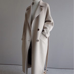 上品 ウールコート ダブルボタン Vネック ソリッドカラー ロング丈 レディース アウター コート