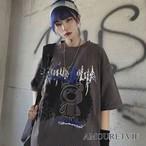Tシャツ カットソー カジュアル クマ柄 パンク 黒 ブラック グレー ピープス オルチャン 韓国ファッション 1273