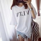【tops】アルファベットⅤネック半袖合わせやすいカジュアルTシャツ