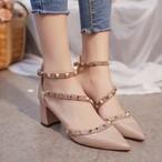 【shoes】スウィートミドルヒールリベットサンダル13020421