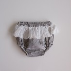 tocoto vintage  Striped culotte with swiss embroidered ruffle(12M,18M,2Y)