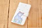 ふてネコが花畑にたたずむ手帳型スマホケース