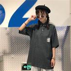 チェック柄 イラスト 半袖 Tシャツ【0133】