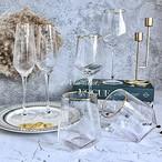 ゴールドライン ダイヤモンドグラス 【全3タイプ /  2個SET】モザイクガラス デコレーション 雑貨 テーブルコーディネート ディスプレイ 装飾品