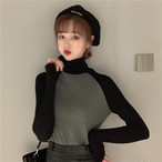 【tops】配色フェミニン個性デザインハイネックTシャツ 23873085