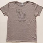 にゃんきーとすTシャツ「フラワー」ヘザーブラウン