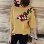 【tops】カジュアルルーズローズ刺繡ラウンドネック半袖Tシャツ