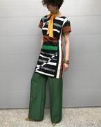 80s black × white × green × white cotton linen dress( ヴィンテージ ホワイト × ブラック × グリーン ブラウン コットン リネン ワンピース )