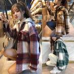 パーカー ネルシャツ チェック柄 レイヤード 重ね着風 フード脱着 韓国ファッション レディース 厚手 アウター 秋冬 ガーリー DTC-601523687618