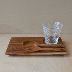 Wood Gift set M (Wood plate M / Wood spoon&fork / Glass)