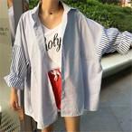 【tops】簡約・シンプル長袖ストライプ切り替えシャツ12866322