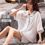 【パジャマ】カジュアル中袖折り襟ボタン付き薄い上下セット30344303