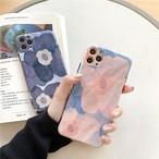 iphoneケース ペア スマホケース 韓国 おしゃれ iphone11 お花 フラワー 黒 ピンク