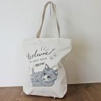 【COTTON BAG コットンバッグ】キャットプリント(グレー猫)縦型トートバッグ