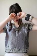 Shiny gray bijou tops