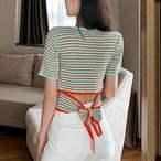 【tops】リボン付きシンプルラウンドネックTシャツ27186228
