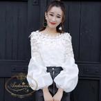 ボートネック バルーン スリーブ ブラウス 白 ホワイト 可愛い レース オーガンジー 花柄 刺繍 ベルスリーブ 韓国服 韓国風 韓国 ANLT101