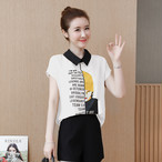 【tops】スペシャルなデザインアルファベット配色3色素敵見えシャツ