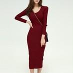 【ワンピース】無地長袖ファッション,フェミニン24920507