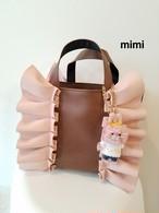 mimi☆フリルトートバッグ☆合皮ピンク×ブラウン☆マチS