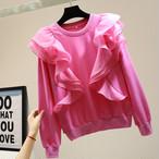 スウェット トップス フリル クルーネック 無地 長袖 大人可愛い ピンク ブルー ホワイト ブラック 秋 冬 春 カジュアル お出かけ シンプル おしゃれ かわいい 韓国 韓国ファッション オルチャン オルチャンファッション P1146