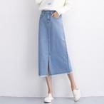 スカート ボトムス デニム生地 ロング丈 ハイウエスト レディースファション 韓国風 着痩せ 可愛い デート 女子会 ブルー 大きいサイズ XS S M L LL 3L