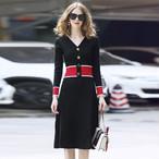 【ワンピース】ファッション切り替え長袖ニットワンピース24360060