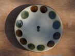 伝統の色合い丸紋緑釉 ヤチムン大城工房 大城雅史 5寸皿(約15cm) やちむん