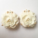 ivory rose earring[e-912]
