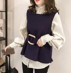 2SET☆ハーフネックシャツ+ウエストマークベスト 1301