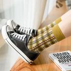 【小物】チェック柄文芸スタイル3足靴下