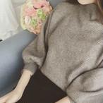 【送料無料&即納☆】バルーン袖 ニット セーター バルーンスリーブ 無地 リブニット