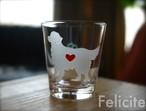 ゴールデンレトリバー彫刻グラス(ハート&クローバー)