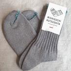 【シルク コットン 天竺 ソックス 杢グレー】日本製 靴下 レディース 綿 絹 素材  オールシーズン 奈良