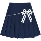 《school collection》Skirt Navy Blue Pleated Bow Tie (送料無料)