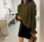 ボリュームシャツレイヤリングニット ニット セーター シャツニット 韓国ファッション