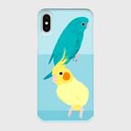 iPhoneケース サザナミインコ ブルー&オカメインコ ルチノーパール【各機種対応】