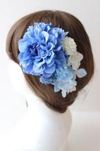 ブルーのダリア、マム、あじさいの髪飾り、コサージュ
